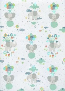 Eléphants et ballons ambiance menthe (68x98)