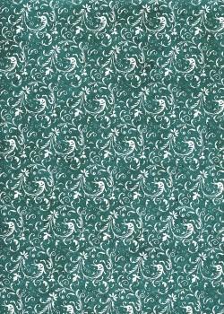 Lokta arabesques argent fond vert (50x75)