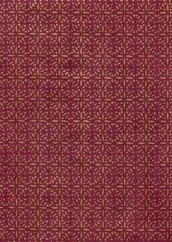 Lokta mosaique or fond rouge foncé (50x75)