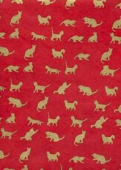 Lokta les chats or sur fond rouge (50x75)