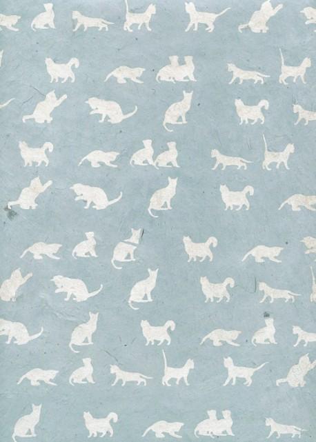 Lokta les chats argent sur fond bleu tendre (50x75)