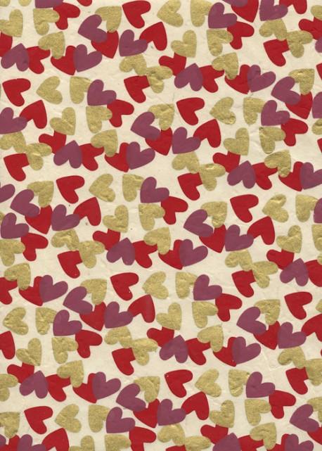 Lokta méli mélo de coeurs rouges prune et or  (50x75)