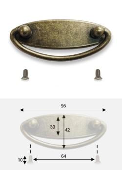 Poignée ovale S/platine bronze ancien (95x30mm) + vis