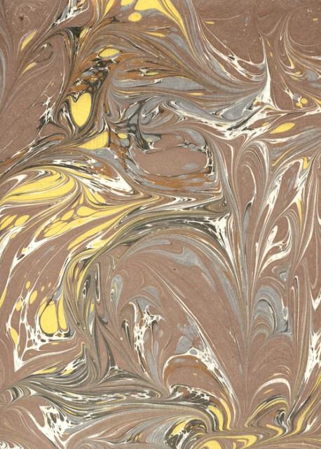 """Papier reliure """"fait main"""" brun jaune et cuivre (50x70)"""