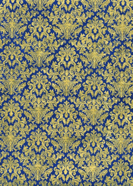 Lokta barocco or fond bleu électrique (50x75)