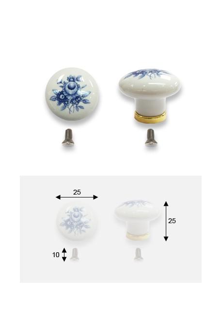 Bouton porcelaine blanche fleur bleue sur socle laiton
