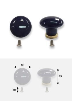 Bouton porcelaine unie bleu royal sur socle laiton