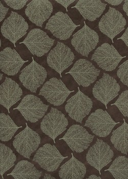 Lokta empreinte de feuille taupe fond noir (50x75)