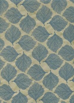 Lokta empreinte de feuilles bleues fond beige (50x75)