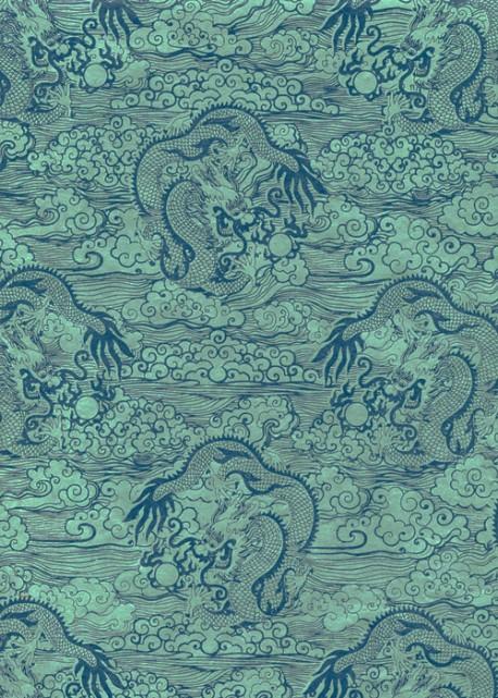 Lokta les dragons ton vert et bleu (50x75)