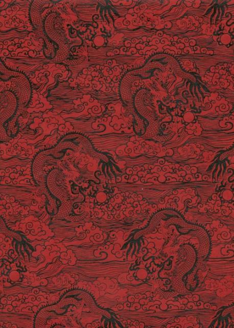 Lokta les dragons noirs fond rouge (50x75)