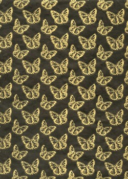 Lokta papillons or fond noir (50x75)