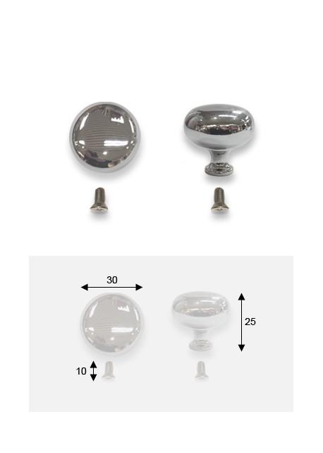 Bouton boule acier chromé