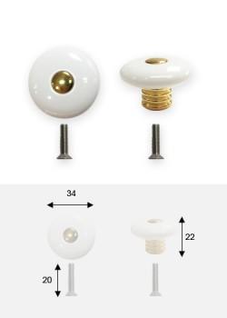 Bouton turban plastique blanc