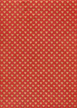 Lokta coeurs or fond rouge (50x75)