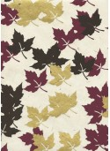 Lokta feuilles d'érable ton bordeaux chocolat et or (50x75)
