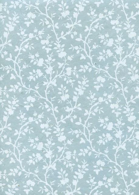 Lokta feuillage blanc fond bleu tendre (50x75)