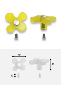 Bouton Fleur jaune translucide