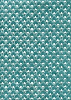 Lokta plumes de paon argent fond bleu canard (50x75)
