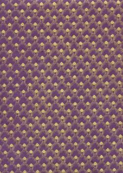 Lokta plumes de paon or fond violet (50x75)