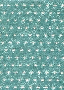 Lokta eventails argent fond bleu vert (50x75)