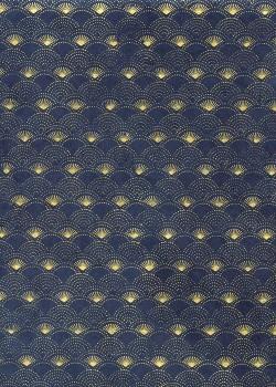 Lokta eventails or sur fond bleu marine (50x75)