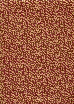 Lokta mosaique or sur fond bordeaux (50x75)