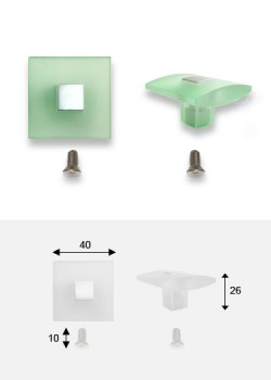 Bouton Carré translucide vert