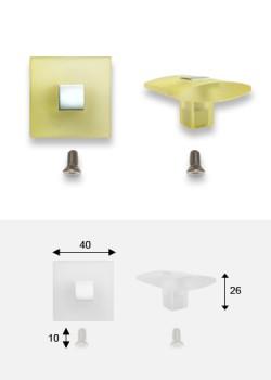 Bouton Carré translucide jaune