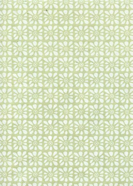 Lokta carré floral fond vert tendre (50x75)