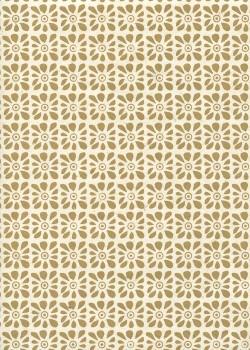 Lokta carré floral beige fond ivoire (50x75)