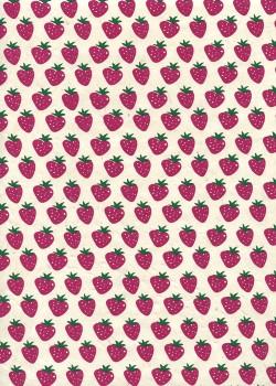 Lokta les fraises roses fond ivoire (50x75)