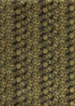 Lokta les cercles rayés or fond noir (50x75)