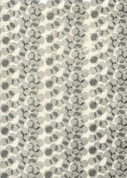 Lokta les cercles rayés noirs fond ivoire (50x75)