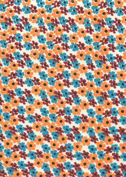 Lokta parterre de fleurs ton orange et turquoise (50x75)