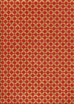 Lokta quadrillage or fond rouge (50x75)