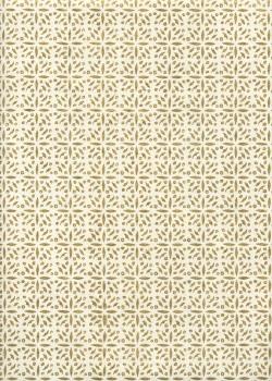 Lokta mosaique florale or fond ivoire (50x75)