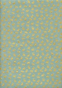 Lokta petits lapins or fond bleu vert (50x75)