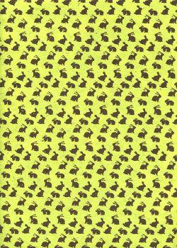 Lokta petits lapins bruns fond vert anis (50x75)
