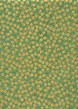 Lokta petites fleurs or sur fond vert (50x75)