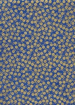 Lokta petites fleurs or sur fond bleu (50x75)