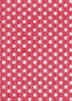 Lokta fleurs blanches fond rouge framboise (50x75)