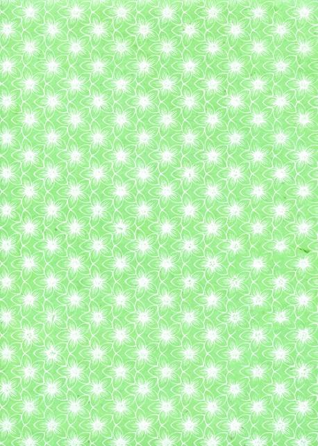 Lokta fleurs blanches fond vert printemps (50x75)