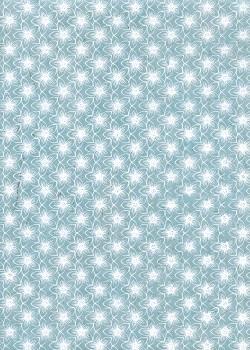 Lokta fleurs blanches fond bleu clair (50x75)
