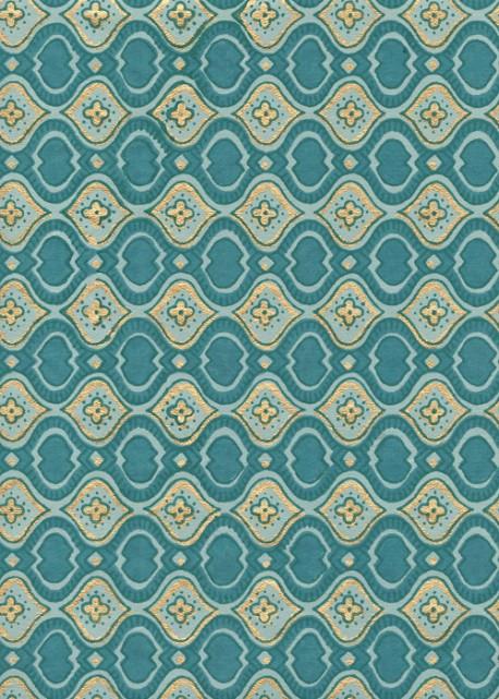 """""""Papier de coton"""" frise bleue réhaussée or (55x76)"""
