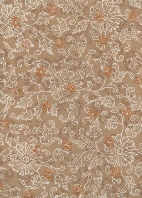 """""""Papier de coton"""" floral fond café rehaussé cuivre (55x76)"""