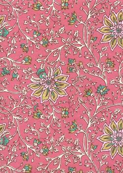 """""""Papier de coton"""" floral fond rose réhaussé or (55x76)"""