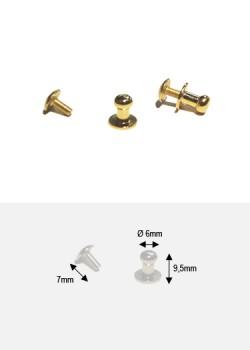 Boutons or (redorés)MM + vis (Ø6mm H:9.5mm)