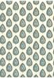 """""""Papier de coton"""" feuilles ambiance bleue fond ivoire (55x76)"""