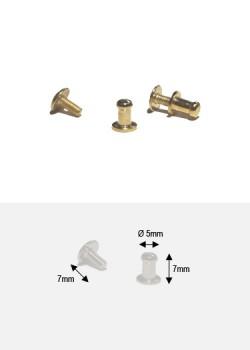 Boutons or (redorés)PM + vis (Ø5mm H: 7mm)